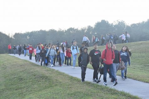 (Photo taken October 2019) Skyline Middle School students walk around the track on Walking Wednesday prior to their first class of the day. All Skyline Middle students will have the opportunity to return to in-person learning April 26.