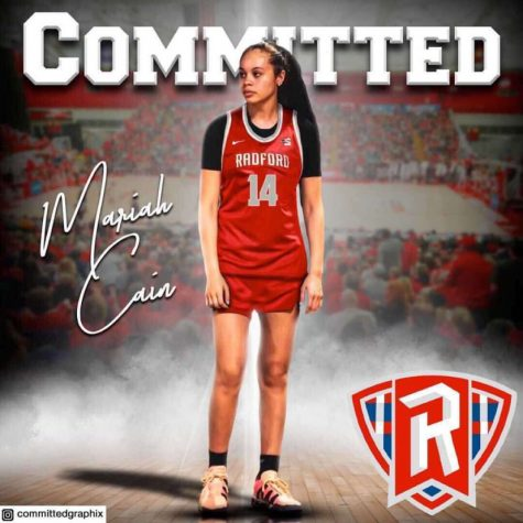 "Cain first received an offer from Radford University in September of 2020. After consulting with her family and coaches, Cain felt the time was right to commit to Radford. ""The Radford program is a very good program athletically and academically, they also formed a strong bond with me and made me feel like family,"" Cain said."