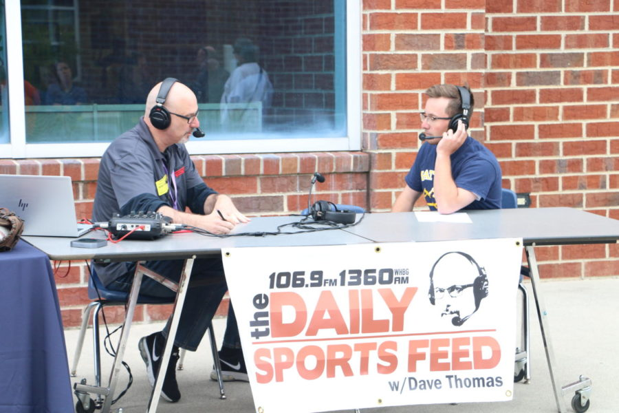 Owen Stewart participates in an interview with local ESPN radio during his senior year at Harrisonburg High School. (This photo was taken before the pandemic set in).