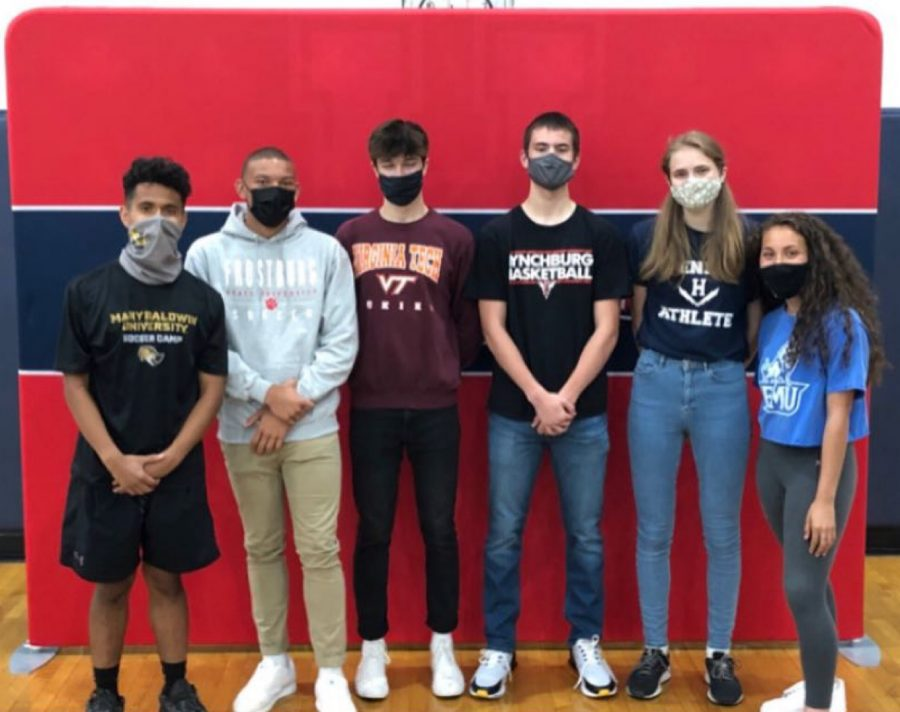 On Friday, May 7, all six seniors officially committed to continue their college athletic careers with a signing ceremony held in the gym at Harrisonburg High School.