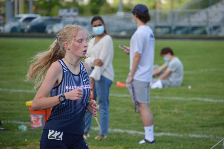 Freshman Lena Blagg runs.