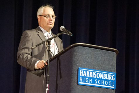 In 2016, Kizner stands before HHS faculty to address them regarding the upcoming school year. After moving to the Stafford County school district in 2018, Kizner has retired after 23 years of working as a superintendent across four different school districts. Kizner will go on to teach leadership at George Mason University in the next few years.