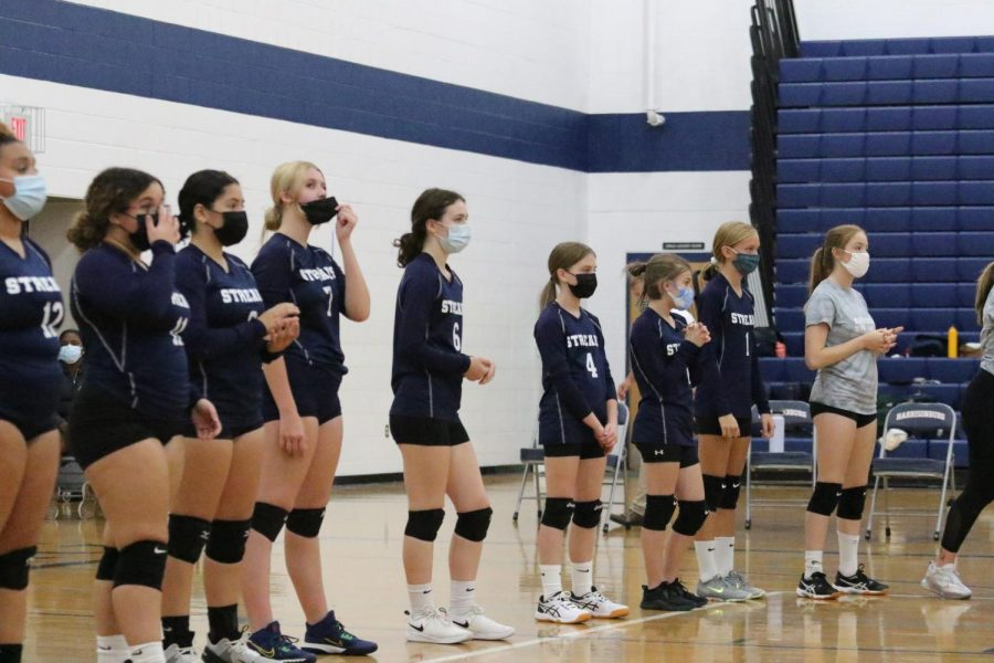 Prior to the start of the game the team lines up for player introductions.