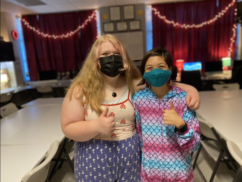 Elanor Tjaden and Jade Chao (left to right) participate in pajama day for spirit week.