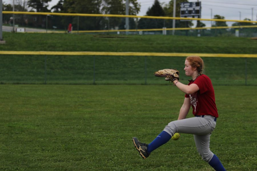 Sophomore Ashlyn Smiley starts off preseason workouts by pitching.