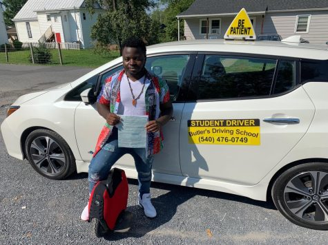 Senior Emmanuel Eletere recently completed behind the wheel with Butlers Driving School. Now that he has his license, Eletere plans to rely less on his electrical unicycle.