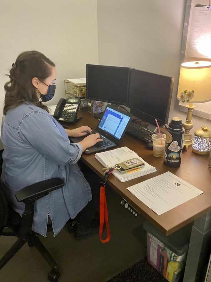 Counselor Victoria Bice works on sending emails during the school day.