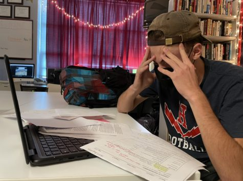 Senior Keenan Glago stresses over his workload from in-person classes.