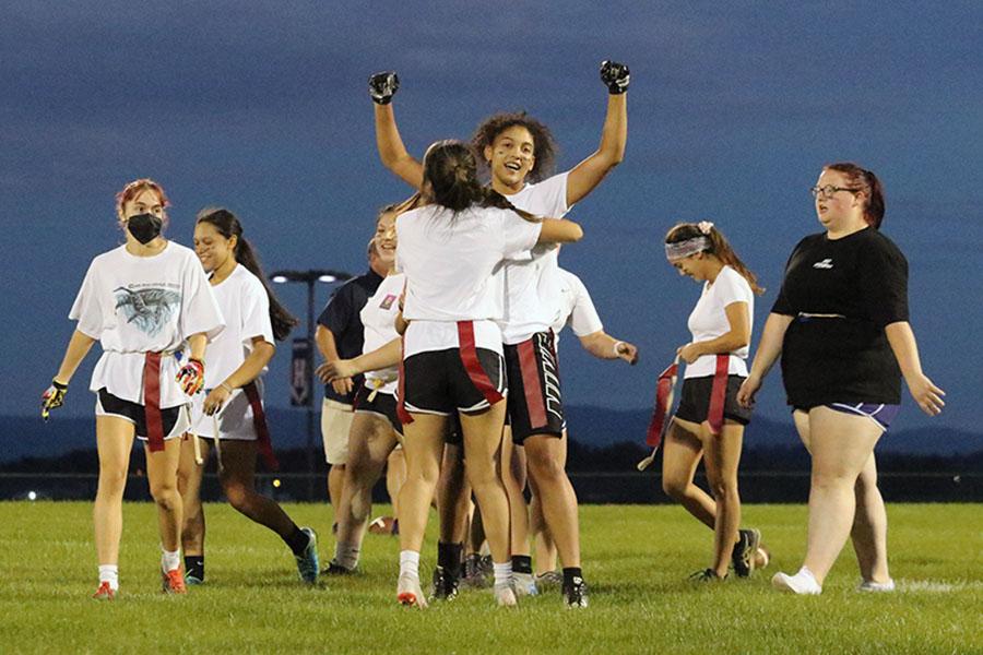 Senior Jay Garcia celebrates with her teammates.